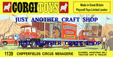 Corgi Toys 1139 Chipperfields Circus Menagerie Transporter Poster Leaflet Sign