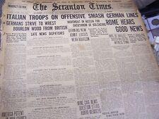 SCRANTON TIMES NOV 28 1917 - ITALIAN TROOPS ON OFFENSIVE SMASH GERMAN LINES