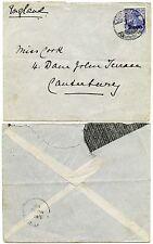 PALESTINE GERMAN P.O in JERUSALEM 1pi on 20pf to CANTERBURY 1908