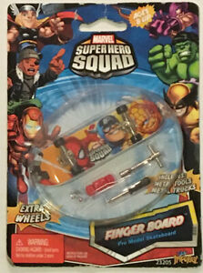 Marvel Super Hero Squad Finger Board Spider-Man Captain America The Thing New