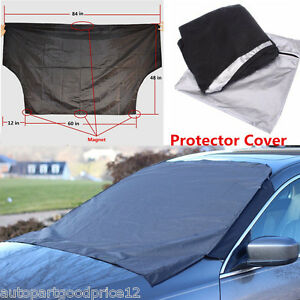 Car SUV Front Windshield Snow Ice Frost & Sun Protector Tarp Flap Magnetic Cover