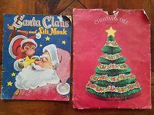 Vintage 1955 Santa Claus Lili Monk Book & Honeycomb Tissue Christmas Tree - Nice