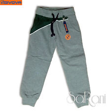 Pantalones Chándal GIVOVA Niño Algodón Peinado Gris Azul Cordones Deporte 3-16