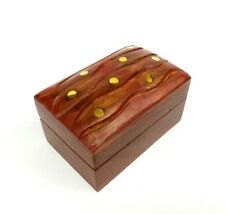Small Wood Box Hinged Lid Brass Inlay Hand Carved Keepsake Jewelry Trinket Box