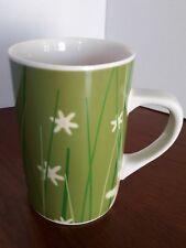 Starbucks Coffee Company Mug 2004 Tall Green Wheat Grass Field White Flowers Cup