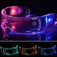 Unisex Halloween Cyberpunk Party Glasses LED Luminescent Eyeglass Cosplay Props