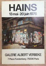 PARIS HAINS 1976 AFFICHE ORIGINALE EXPO GALERIE ALBERT VERBEKE PARIS
