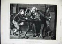 Original Old Antique Print 1879 Crystal Palace Gallery Art Man Young Boy Book