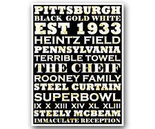 "Pittsburgh Steelers Art Poster NFL Football Subway Print 12x16"""