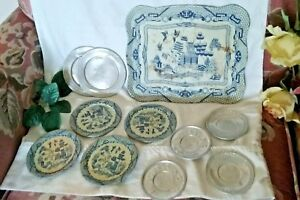 vintage Metal Play DISHES Plates & Tray kittens mittens blue willow