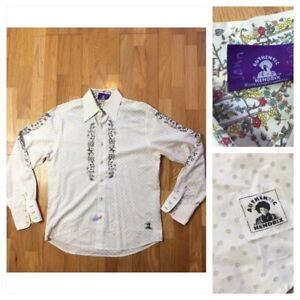 Jimi Hendrix Purple Label M White Polka Dot Shirt Embroidered White Button Men
