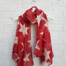 Super Star - Red Scarf. Big white star-patterns as wrap, sarong.