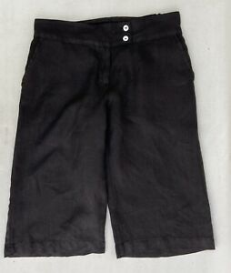 Cut Loose Shorts Black Linen Four Pockets Zip Fly Off Set Wide Waistband S
