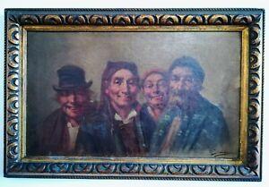 Portrait de groupe - huile sur toile 19ème - 59x39 cm encadré