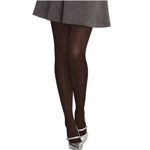 Hanes Tights Sz M Coffee Brown Animal Print Control Top Fashion Tight 0C111