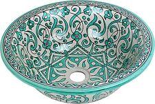 Amir VERDE dipinti a mano in ceramica marocchina bagno bacino, dipinto all'interno di fuori di 40