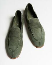 Isaia $715 NIB Winter Green Suede Apron Toe Loafers Dress Shoes 42.5 eu 9.5 US