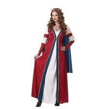 Adult RENAISSANCE QUEEN Costume Red White Blue Ladies Dress + Crown Large 10 12