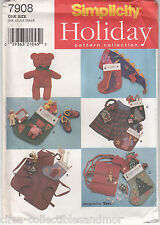 Christmas Decorations Stocking Hat Apron Bear Scarf Simplicity Sew Pattern 7908
