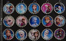 15 Frozen Flat SILVER Bottle Cap Necklaces Set 03