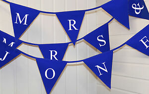 personalised Mr & Mrs bunting (add surname) / Just married wedding decoration