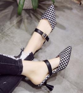 Women Med Heel Pointed Toe Slip On Summer Mule Slipper Check Outwear Belt Sandal