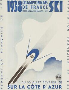 1938 Championnats De France Internationaux De Ski Vintage Ski Poster