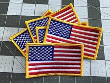 AMERICAN FLAG EMBROIDERED PATCH iron-on GOLD BORDER USA US United States LOT 5