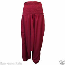 New Harem Trousers Baggy 100% Cotton Plain Colour Hippy Boho Festival NEW PRICE