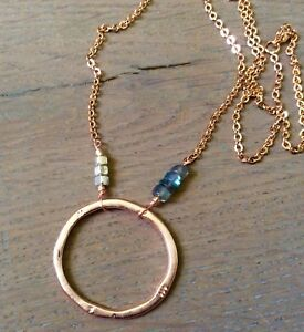 NEW HANDCRAFTED BOHEMIAN SUNDANCE CHARM NECKLACE ROSE GOLD PLATED LABRADORITE