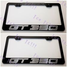 2X Mustang GT 350 Shelby Stainless Steel Black License Plate Frame Rust Free