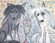 Chinese Crested Drinking Champagne Aceo 2.5x3.5 Miniature Print Collectible Card