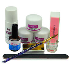 Acrylic Powder Liquid Glass Cup Nail Art Tips UV Primer Brush Block Tool Kit Set