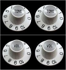 White VOLUME & TONE Witch Hat Knobs for USA Split Shaft Pots Gibson Epiphone NEW