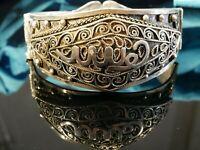 Bombastischer Silber Armreif Groß Orientalisch Filigran Schwer Vintage Retro