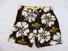 Corona Extra Mens Board Shorts Sz 36 Hawaiian Floral Brown Summer Casual CB86B