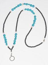 Turquoise Crystal Beaded Lanyard - Handmade Birthstone Beaded Lanyard