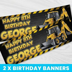 Personalised JCB Digger Banner - Children Party Banner x 2 - BB084