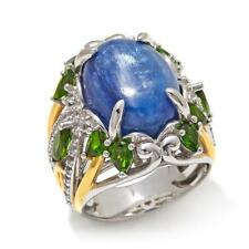 VICTORIA WIECK 2-TONE STERLING KYANITE, CHROME DIOPSIDE & TOPAZ RING SIZE 8 HSN