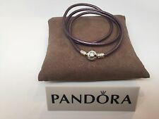 New Pandora L Purple Triple Smooth Leather Large Energy Bracelet #590714CPE T3