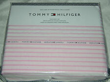 Tommy Hilfiger Pink & White Signature Stripe TWIN Sheet Set--NWT