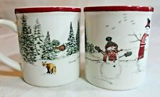 "Williams Sonoma Child's CHRISTMAS MUGS 7 ounce 3"" SNOWMEN Fox Trees Red Rim"