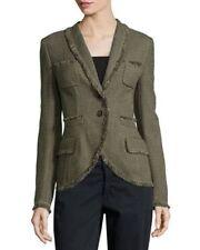 SZ 44 ESCADA Olive Shawl Collar w/Fringe Trim Tweed Jacket NWT Pockets $2525