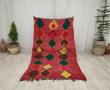 """Moroccan Boujaad Vintage Handmade Rug 4'3""""x7' Geometric Berber Red Wool Rug"""