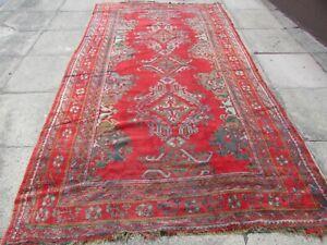 Vintage Hand Made Traditional Turkish Oushak Oriental Wool Red Carpet 330x186m