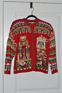 VTG Ladies Heirloom Collectibles Ugly Christmas Sweater Cardigan Teddy Medium