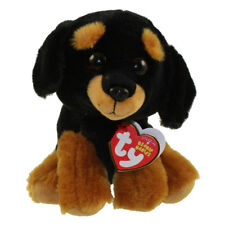 "TY Beanie Baby 6"" TREVOUR Rottweiller Plush Stuffed Animal w/ MWMT's Heart Tags"