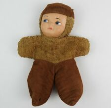 "Vintage Rubber Face brown cupie doll corduroy & plush 8"" tall sawdust filled"
