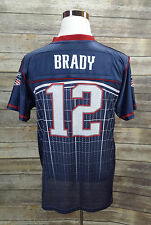 Tom Brady #12 Super Bowl Authentic NFL Onfield Reebok Blue Jersey Size XL 18-20