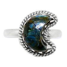 Crescent Moon - Larvikite Stone - Black Moonstone 925 Silver Ring s.6.5 BR88744